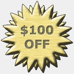 Graphic for a coupon with the words $100 Off.