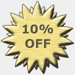 Graphic for a coupon with the words 10 percent off.